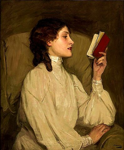 Image Credit: Miss Auras, by John Lavery, depicts a woman reading a book, filed under Public Domain.